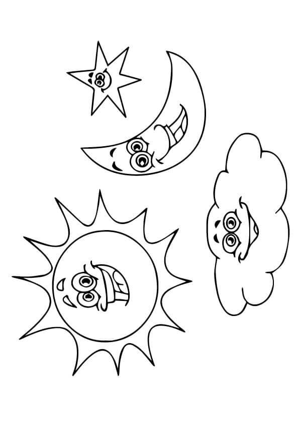 mặt trời ông trăng và mây